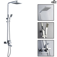 Bathroom Chrome Solid Brass Bathtub Shower Set Wall Mounted 8 Rainfall Shower Mixer Tap Faucet 3