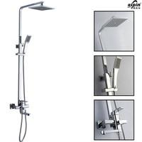 Bathroom Chrome Solid Brass Bathtub Shower Set Wall Mounted 8 Rainfall Shower Mixer Tap Faucet 3