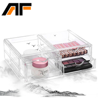 AF 2 Layer Big Size Multi function Plastic Storage Cabinet With Drawer Transparent Jewelry Storage Box Cabinet C148