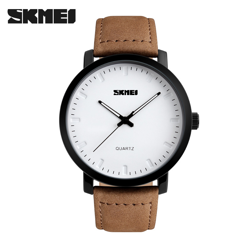 2017 SKMEI Brand Casual Men's Watches Leather Waterproof Simple Joker Fashion Quartz Watch Men Sport Military Army Wristwatch