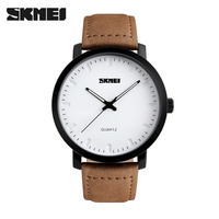 2016 SKMEI Brand Casual Men S Watches Leather Waterproof Simple Joker Fashion Quartz Watch Men Sport