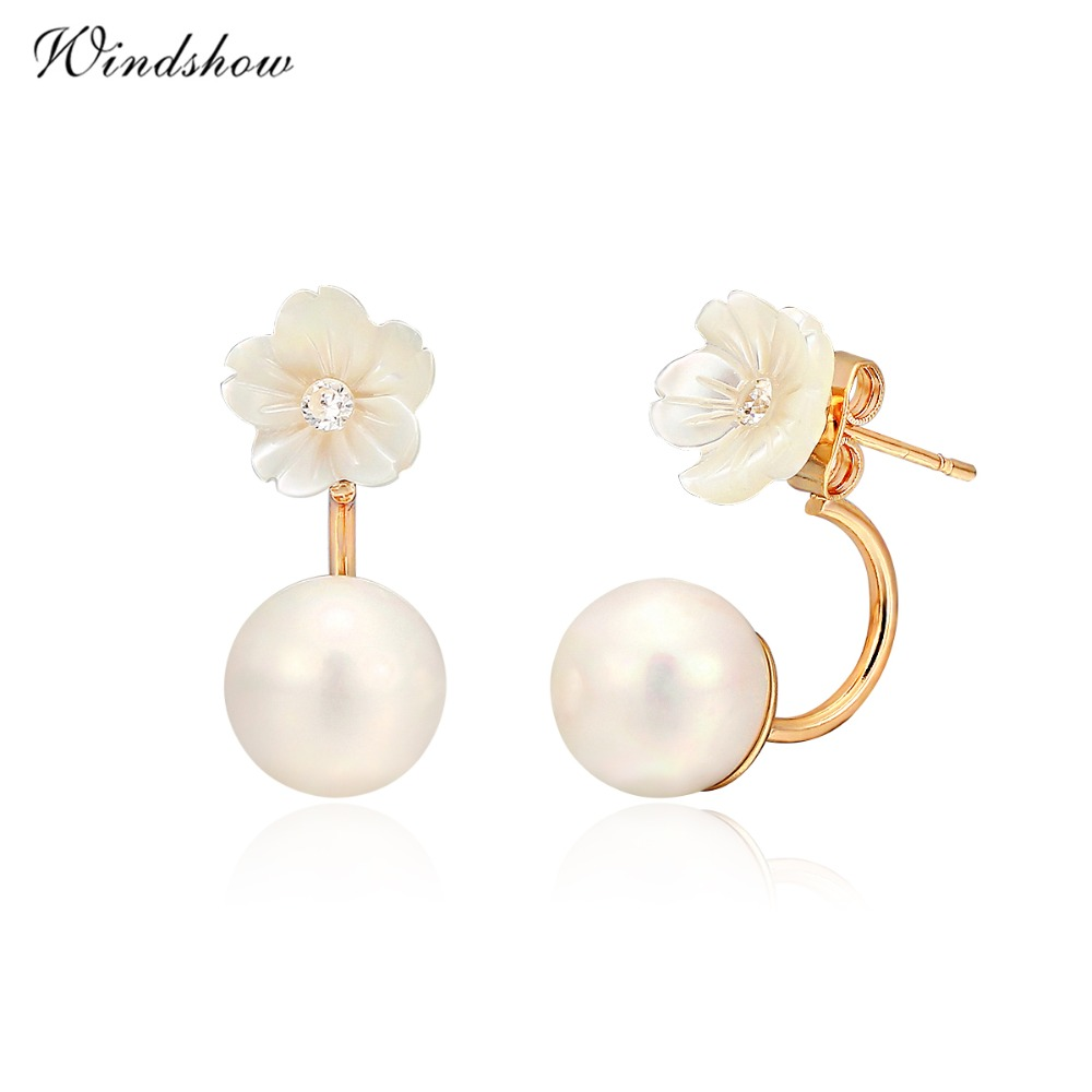 Front To Back Ear Jacket Double Sided White Pearl Flower Daisy Stud Earrings  For Women Gold