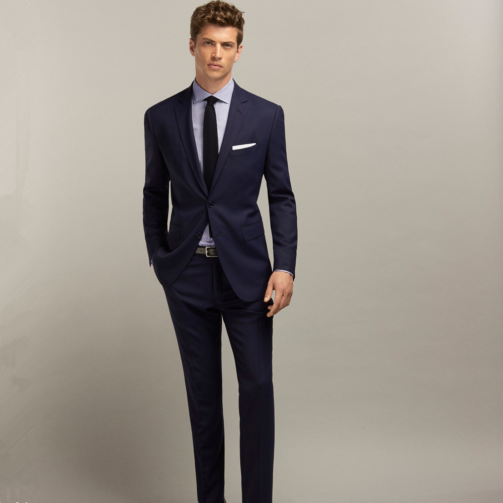 Jacket+Pant) Dark Navy Single Breasted Business Suits Wedding ...