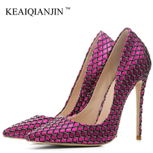 KEAIQIANJIN Woman Pink Valentine Shoes Stiletto Plus Size 33 43 44 Purple High Heels Shoes Sexy Pointed Toe Party Wedding Pumps cocoafoal woman silver high heels shoes stiletto plus size 33 43 44 wedding silver gold pumps pointed toe sexy valentine shoes