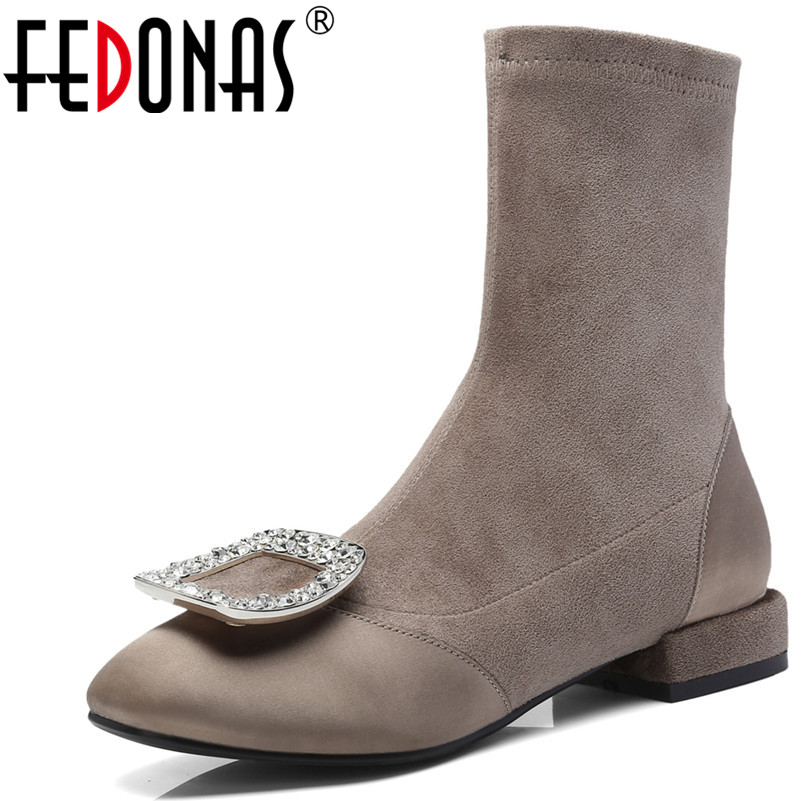 FEDONAS Elegant Women Mid-calf High Boots Autumn Winter Brand Fashion Socks Boots Sexy Rhinestone Wedding Party Shoes Woman ombre circle calf length socks
