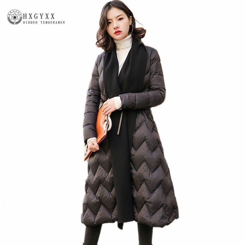 Black Winter Parka Plus Size Goose Feather Jacket Woman White Duck   Down     Coat   Long Belt Thick Warm Outerwear 2019 Korean Okd454