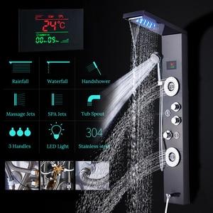 Image 4 - חדש יוקרה שחור/מוברש אמבטיה ברז מקלחת LED מקלחת פנל עמודת אמבטיה מיקסר ברז עם יד מקלחת טמפרטורת מסך