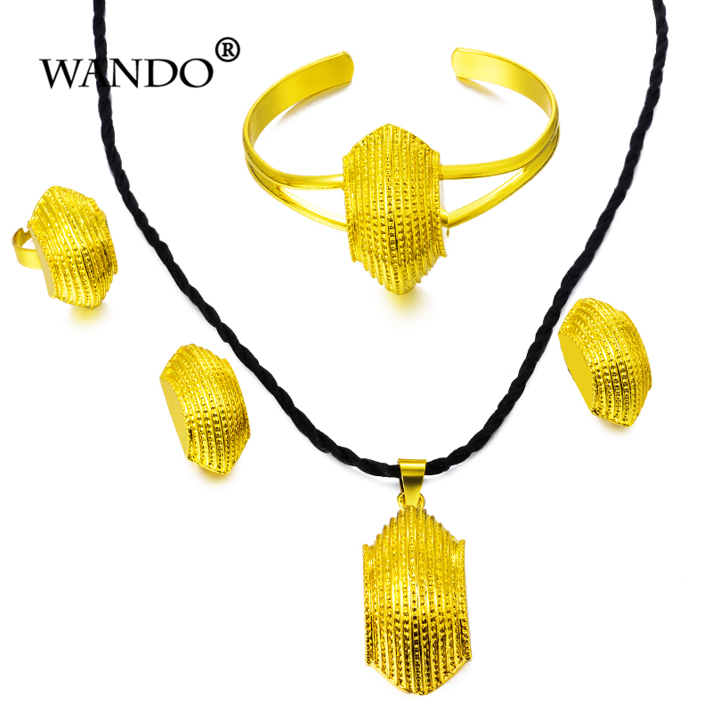 WANDO Ethiopian Jewelry Set Necklace/Pendant/Earring/Ring/Bangle 24K Gold Color African/Eritrea Habesha gril Wedding gift WS50
