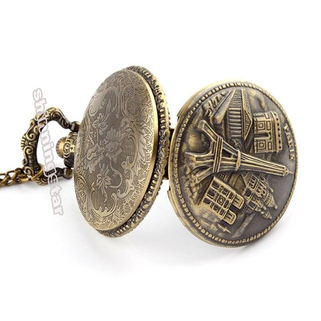 Antique Bronze Arc de Triomphe in Paris Eiffel Tower pocket watch necklace pendant for men and women P121
