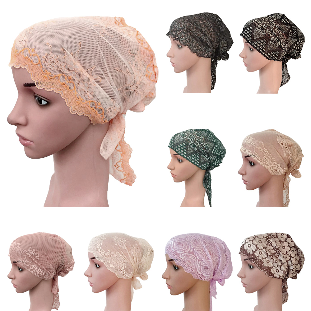 12PCS Wholesale Fashion Style Elastic Lace Bandage Muslim Inner Hijab Caps Islamic Underscarf Hats Various 8 Colors Random Color(China)