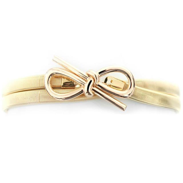 2019 Hot sales New women metal belt Bowknot chain Fashion metal buckle thin elastic waist gold women skinny belt
