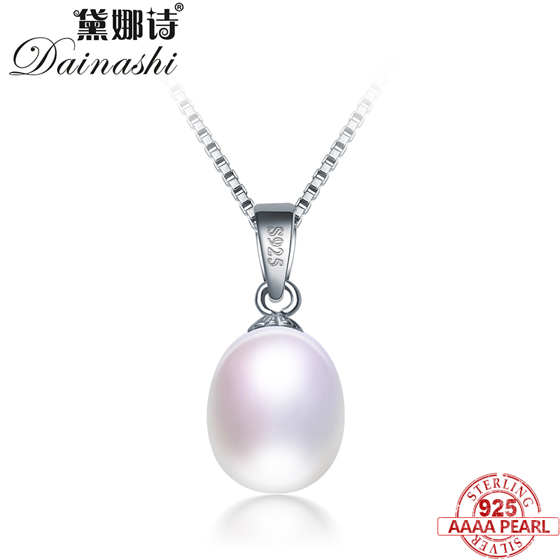 Dainashi Simple&Elegant 925 Sterling Silver Pendant Necklace For Women Pearl Jewelry 8-9 Mm Water Drop Natural Pearl Necklace