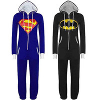 New Unisex Pyjamas Superhero Adult Onesies Men Women Batman Superman Pajamas Sleepwear Onesies For Adults