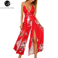 Lily Rosie Girl Sexy Split Red Print Boho Women Jumpsuits Summer Beach Floral Casual Rompers V