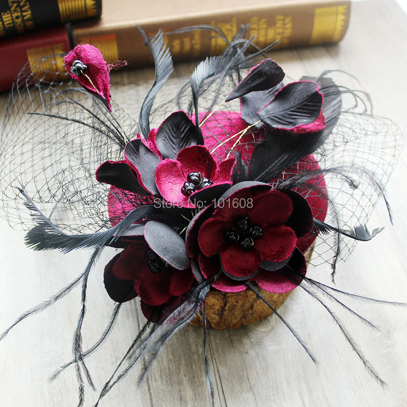 Royal Civil war victorian Taylor Fascinator Black Red Feather Fascinator  Women s Tea Party Church Derby Fancy Hat MZ-30 ea42028ff90