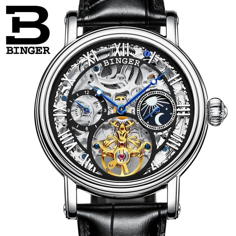 0837b5ceddd De alta Qualidade Relógios Relogio masculino Original BINGER Relógios  Automáticos De Homens Mecânicos Esqueleto de Prata