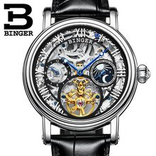 High Quality Watches Relogio Masculino Original BINGER Automatic Watches For Men Mechanical Clock Silver Skeleton Business Wrist(China)