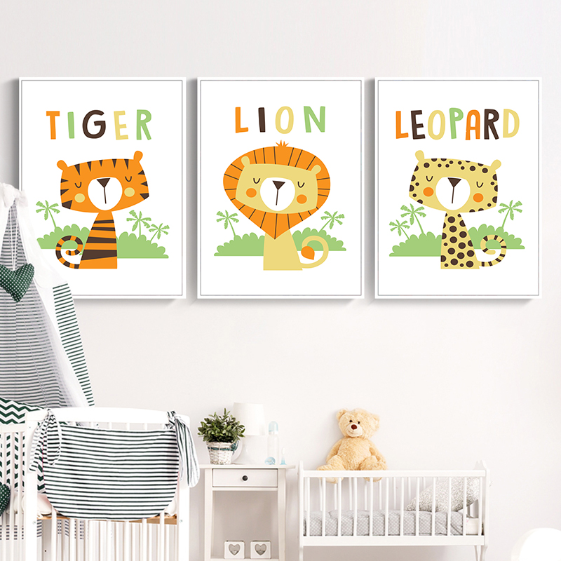 Simple And Lovely Animal Cartoon Leopard Tiger Lion A4 Canvas Art Painting Print Poster Picture Wall Baby Child Room Decoration