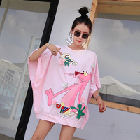 European Station Fashion Card Sequin Printed Bat Sleeve Ladies T shirt Short Sleeve Loose Teddy Leopard Short Sleeve Top Summer