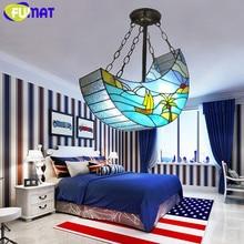 FUMAT Pendants Light Stained Glass Tiffany Hanging Lighting Fixture Children Bedroom LED Hanglamp Lights Sea Art Pendant Lamp