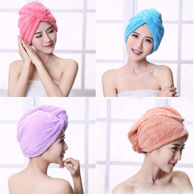 קטיפה אלמוגים יבש שיער מגבת מיקרופייבר מהיר ייבוש טורבן סופר סופג נשים שיער כובע לעטוף עם כפתור לעבות 6 צבעים