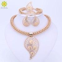 Farbe Gold Schmuck Set Kostüm Design Große Anhänger Halskette Set Braut Geschenk Nigerianischen Hochzeits Afrikanische Perlen Schmuck-Set