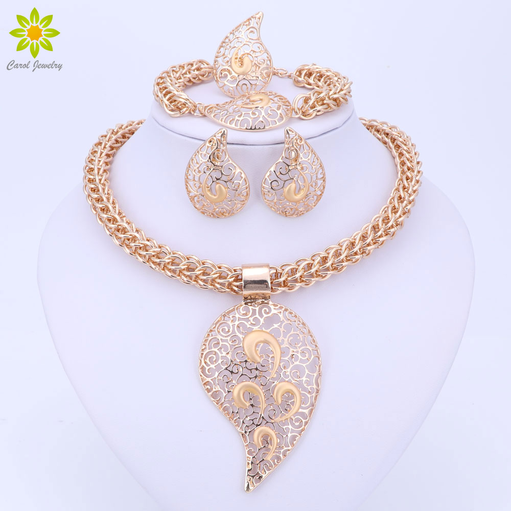 Gold Color Jewelry Set Costume Design Big Pendant Necklace Set Bridal Gift Nigerian Wedding African Beads Jewelry Set