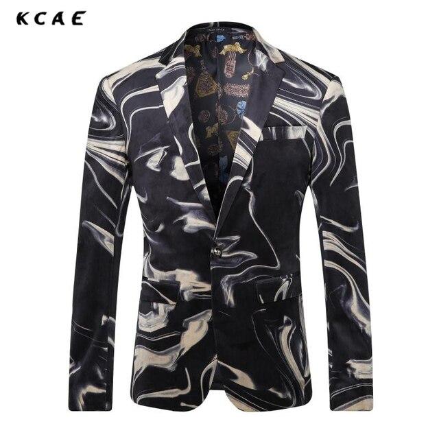 KCAE Marca Hombres Trajes Blazer 2017 Nuevo Traje de Boda Del Novio Chaqueta de terciopelo de Impresión de Los Hombres de Los Trajes Para Hombre Etapa Wear Plus Size M-XXXL