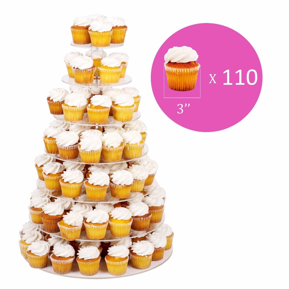 Free Shipping 7 Tier Clear Acrylic Wedding Cake Stands, Acrylic Cup ...