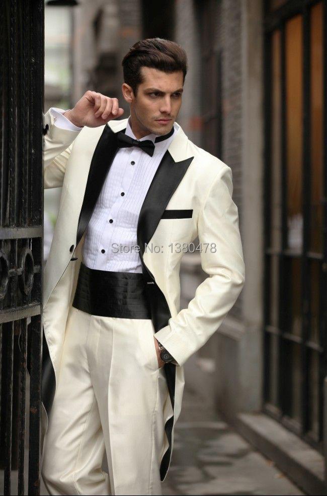 58254732fdb Custom MadeTailcoat Ivory Groom Tuxedos Best Man Peak Black Lapel Groomsmen  Men Wedding Suits Bridegroom Jacket+Pants+Tie+Girdle