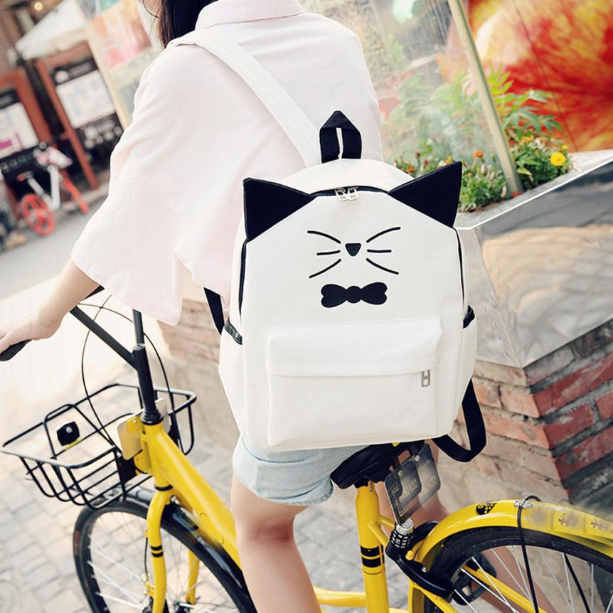 maison Backpacks high quality Girls Fresh Cute Cartoon Canvas Preppy Style Backpack School Travel backpack women 2018MA9