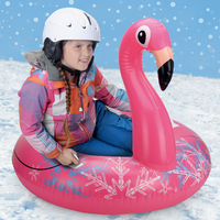 Pink Flamingo Skiing SnowSled Kids Swimming Ring Children Inflatable Snow Tube Lawn Beach Outdoor Slippery Toys For Boys Girls