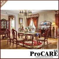 ריהוט עתיק חדר אוכל שולחן אוכל קבוצת רכישה סט ריהוט בית עץ מלא שולחן אוכל וכיסאות מחיר סיטונאי
