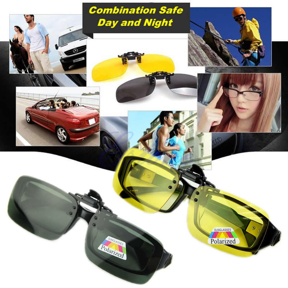 Free Shipping Polarized Day Night Vision Clip-on Flip-up Lens Sunglasses Driving Glasses
