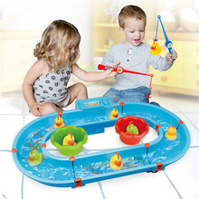 Educational Fishing Toy Electric Water Duck with 2 Rod Magnetic for Children Toys Developing Outdoor