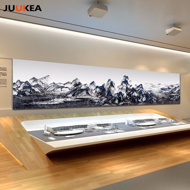Huge Size Canvas Print Painting, Classic Asia Chinese Ink Painting  Landscapes Large Size Wall Picture