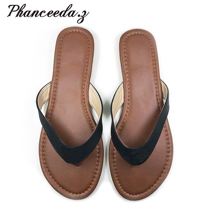 Nuevo 2019 verano estilo E Zapatos Sandalias de mujer brillante buena calidad serpiente moda Casual zapatillas lisas chanclas envío gratis