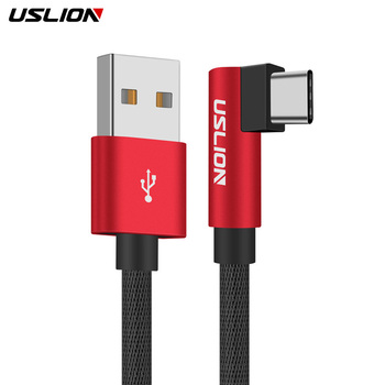 USLION 90 Degree Type C USB Cable For Samsung galaxy S9 Plus S8 Note 8 Xiaomi mi6 huawei Type-c Cord Phone Charger Fast Charging Mobile Phone Cables