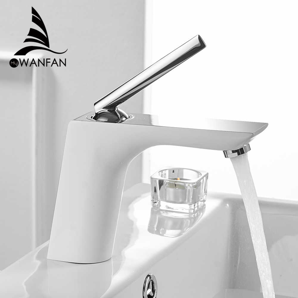 Basin Faucets Modern White Chrome Brass Bathroom Sink Faucet Single Handle Hole Toilet Bath Mixer Water Tap Crane YLS837-11