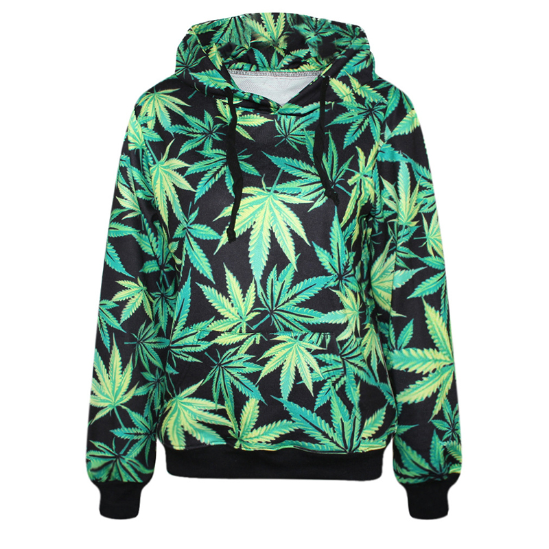 FLC Fashion hoodies hooded for men  tracksuits print Lovers green leaves 3d sweatshirt casual hoody tops with pockets