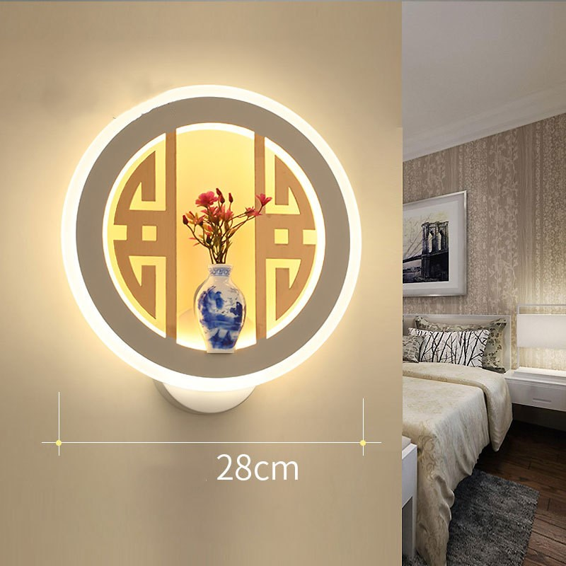 Round LED bedside lamp bedroom hotel living room adorn wall lights corridor creative acrylic retro new Chinese indoor wall lamp