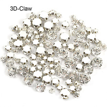 Round Shapes Silver & Gold Sew on Rhinestones With Claw Crystal / AB 3D New Glass Glitter For Wedding Dress