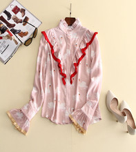 France style sweet ruffles blouse 2017 spring flare sleeve swan printing pink shirt S-L size