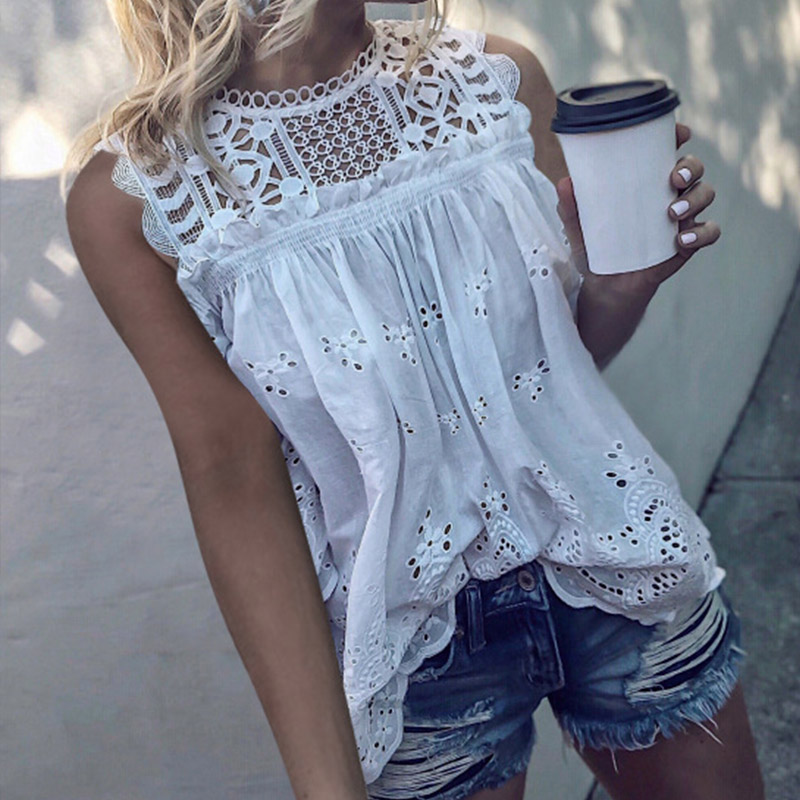 White Lace Hollow Out Cotton Women's Blouses Tunic Sleeveless O-Neck Sexy Female Tops 2020 Summer Fashion Ladies Blouse 3