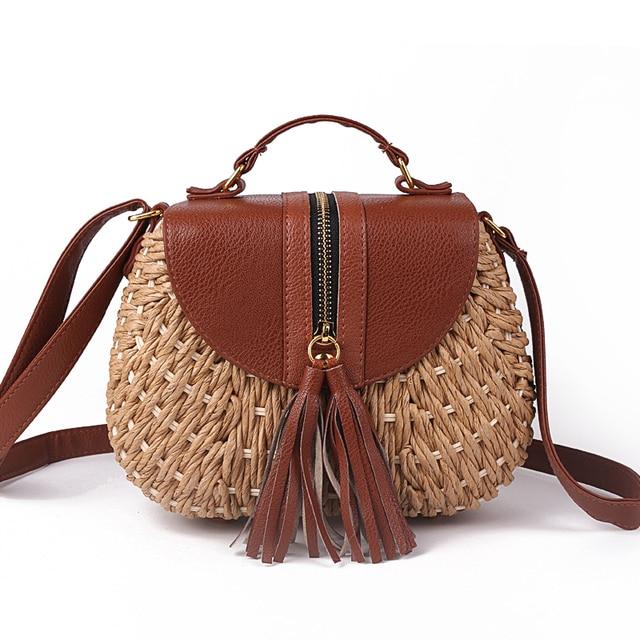 2018 Famous Designer Ladies Woven Knitting Messenger Crossbody Bags New Summer Bohemian Women Tassel Straw Beach Shoulder Bag