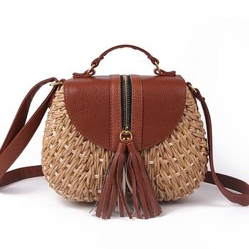 2020 Famous Designer Ladies Woven Knitting Messenger Crossbody Bags New Summer Bohemian Women Tassel Straw Beach Shoulder Bag