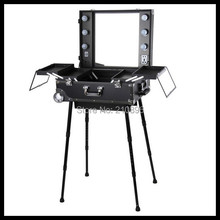 Professional Trolley makeup case with lights, mirror, PVC cosmetic makeup station studio