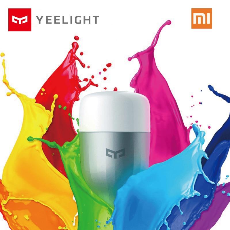 Original Xiao mi yeelight azul II LED Bombilla inteligente colorido (color) e27 9 W 600 lúmenes mi luz WiFi teléfono inteligente Control remoto