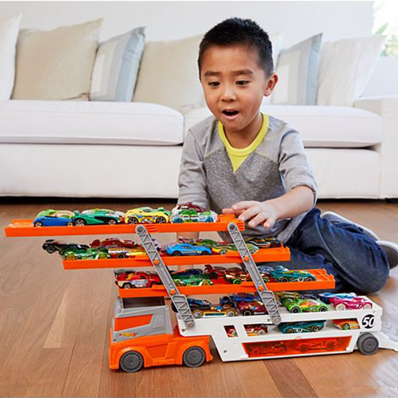 Hot Wheels Mega Hauler Track Toy Big Size Transporter Can Holds Up To 50 Cars Hotwheels Truck Toy Commemorative Edition FTF68