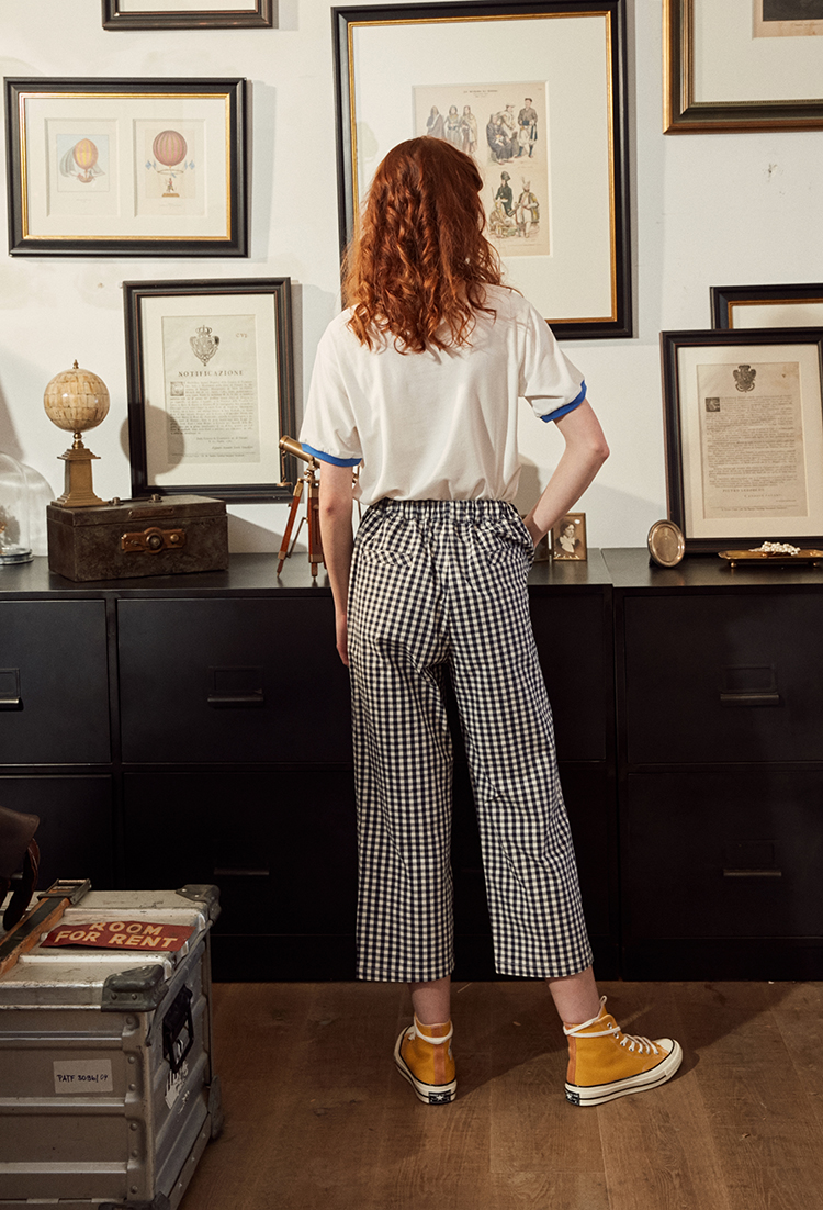 Fashion Design Plaid 2018 Elastic Waist Women Straight Pants Capris Cartoon Print Belt Calf Length Pants Summer Preppy Style 15